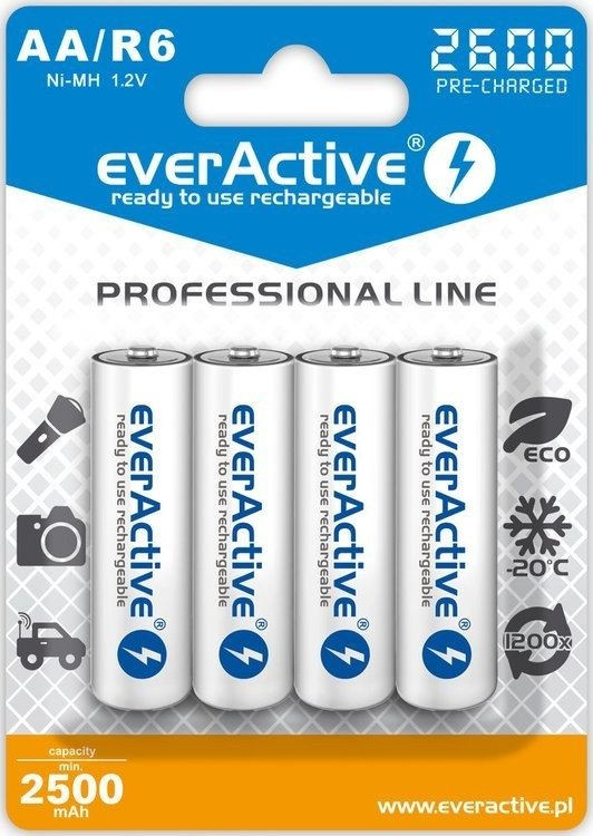 Akumulatorki AA / R6 everActive Ni-MH 2600 mAh ready to use - 4 sztuki